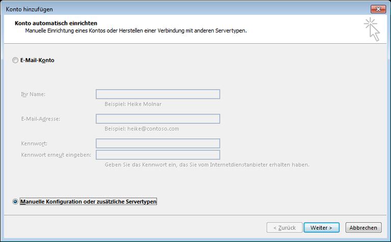 03 Outlook 2013 - Manuelle E-Mail Einrichtung - Konto hinzufuegen