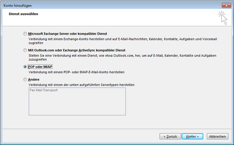 04 Outlook 2013 - Manuelle E-Mail Einrichtung - Konto hinzufuegen