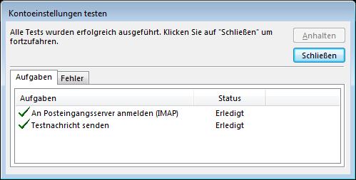 08 Outlook 2013 - Manuelle E-Mail Einrichtung - Kontoeinstellungen testen
