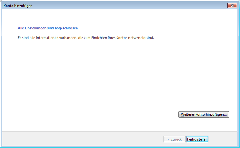 09 Outlook 2013 - Manuelle E-Mail Einrichtung - Konto hinzufuegen