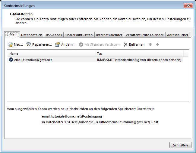 10 Outlook 2013 - Manuelle E-Mail Einrichtung - Kontoeinstellungen