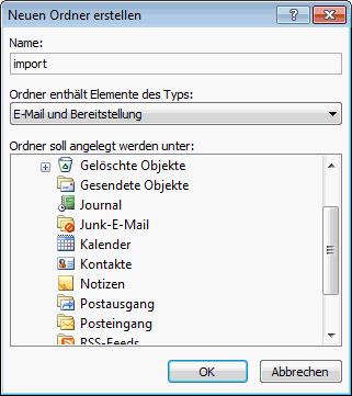 Outlook 2007 E-Mails aus PST Archiv importieren 2