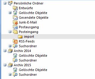 Outlook 2007 E-Mails aus PST Archiv importieren 3