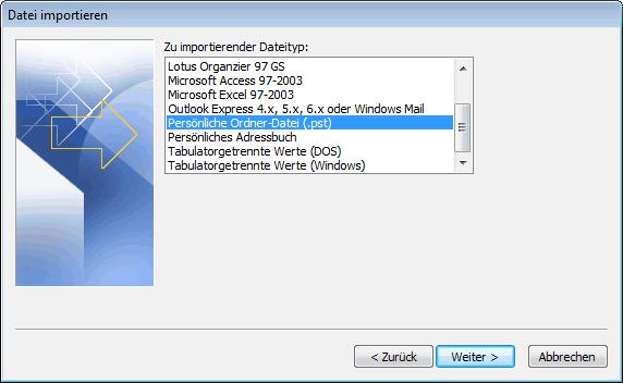 Outlook 2007 E-Mails aus PST Archiv importieren 5