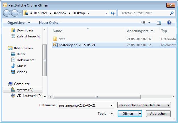 Outlook 2007 E-Mails aus PST Archiv importieren 6