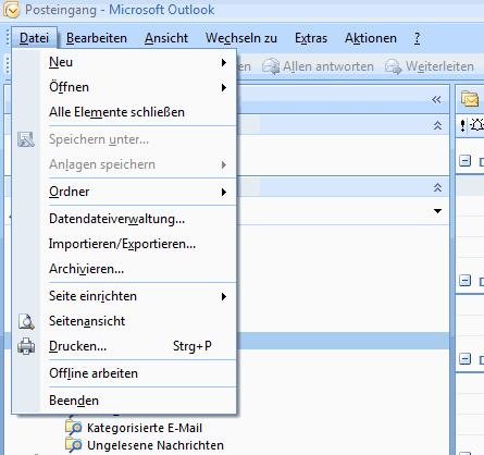 Outlook 2007 E-Mails exportieren 1