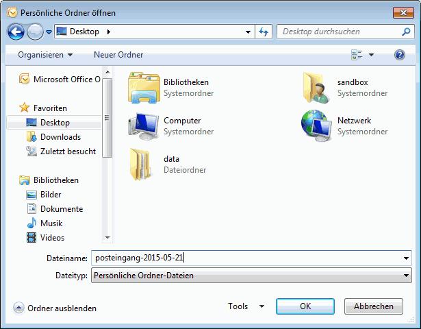 Outlook 2007 E-Mails exportieren 5