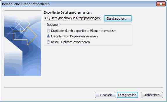 Outlook 2007 E-Mails exportieren 6