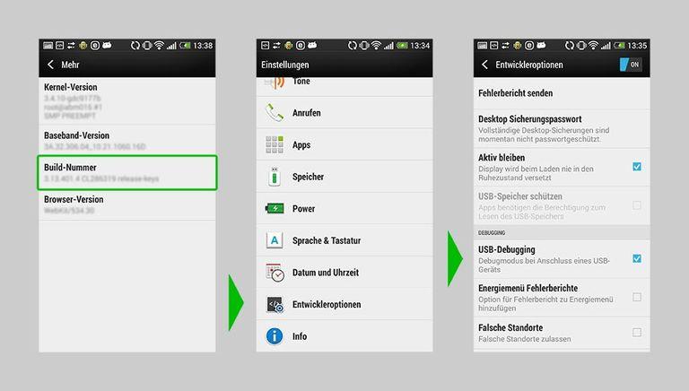 USB Debugging unter Android aktivieren