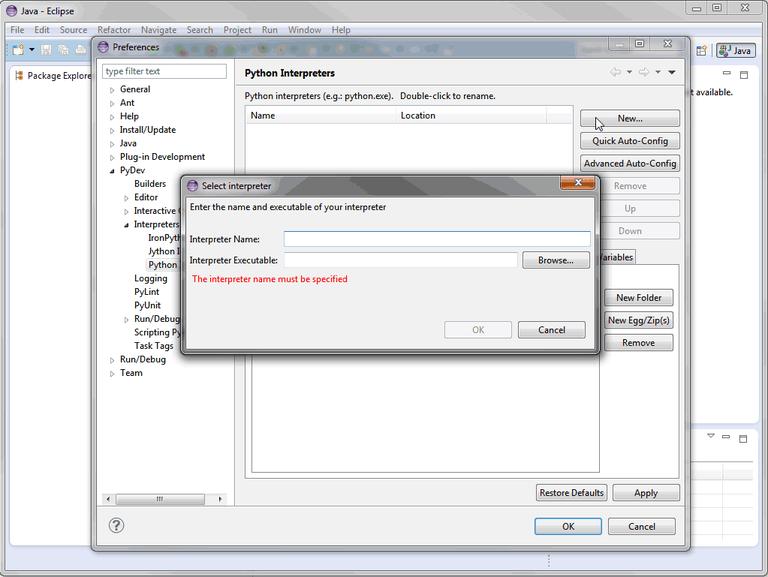 Eclipse IDE Python Interpreter konfigurieren